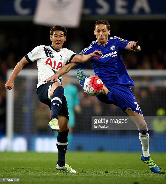 Son HeungMin of Tottenham Hotspur and Nemanja Matic of Chelsea battle for the ball during the Barclays Premier League match between Chelsea and...