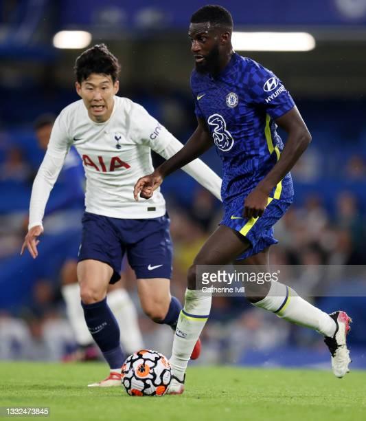 Son Heung-min of Tottenham Hotspur and Tiemoue Bakayoko of Chelsea during the Pre Season Friendly match between Chelsea and Tottenham Hotspur at...