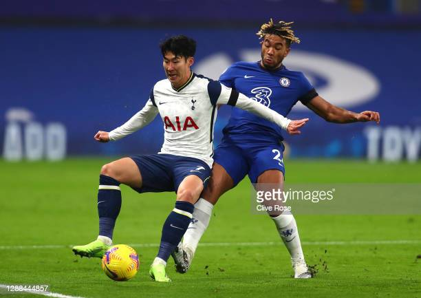 Son Heung-Min of Tottenham Hotspur battles for possession with Reece James of Chelsea during the Premier League match between Chelsea and Tottenham...