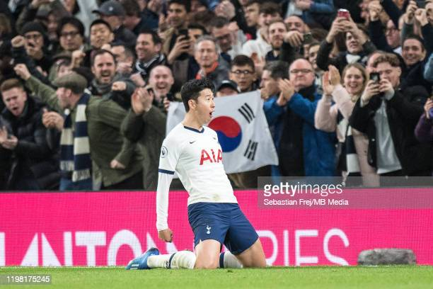 Son Heungmin of Tottenham Hotspur celebrate after scoring goal during the Premier League match between Tottenham Hotspur and Manchester City at...