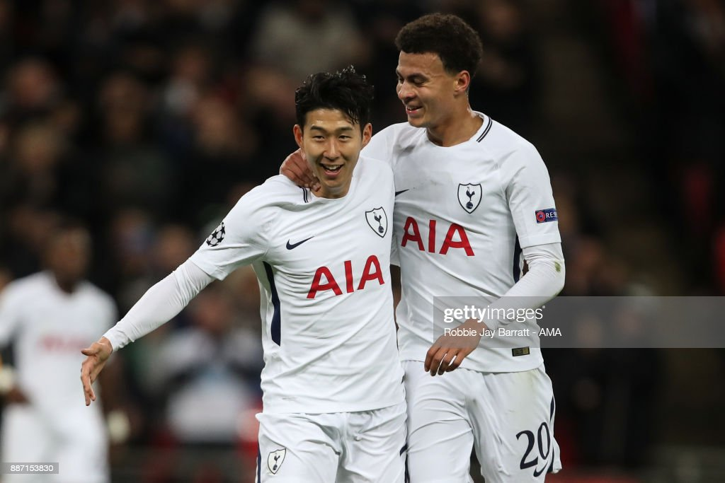 Son Heung-Min of Tottenham Hotspur celebrates after scoring a goal to make it 2-0 during the UEFA Champions League group H match between Tottenham Hotspur and APOEL Nikosia at Wembley Stadium on December 6, 2017 in London, United Kingdom.