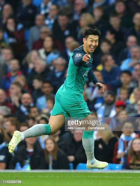 Son Heungmin of Tottenham Hotspur celebrates after scoring his first goal during the UEFA Champions League Quarter Final second leg match between...