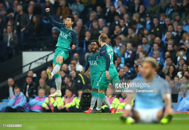 Son Heungmin of Tottenham Hotspur celebrates after scoring his second goal during the UEFA Champions League Quarter Final second leg match between...