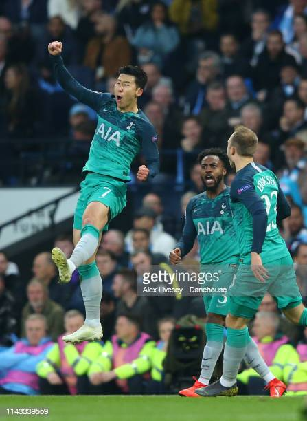 Son Heung-min of Tottenham Hotspur celebrates after scoring his second goal during the UEFA Champions League Quarter Final second leg match between...