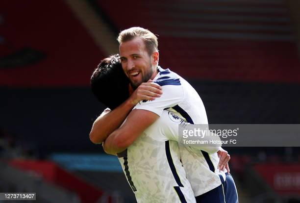 Son HeungMin of Tottenham Hotspur celebrates after scoring his team's third goal with Harry Kane of Tottenham Hotspur during the Premier League match...