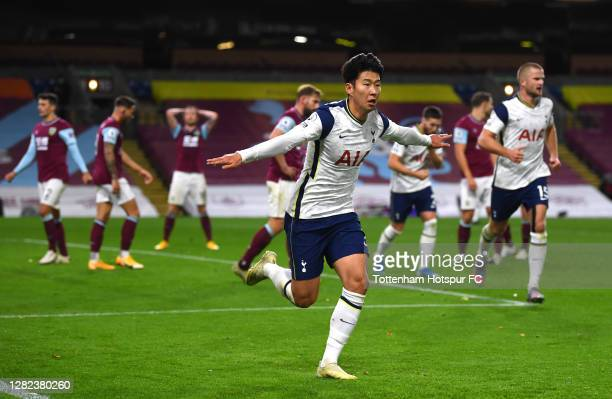 Son Heung-Min of Tottenham Hotspur celebrates after scoring his team's first goal during the Premier League match between Burnley and Tottenham...