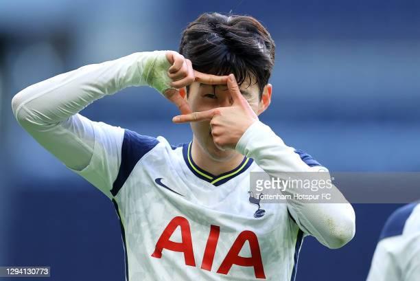 Son Heung-Min of Tottenham Hotspur celebrates after scoring their team's second goal during the Premier League match between Tottenham Hotspur and...