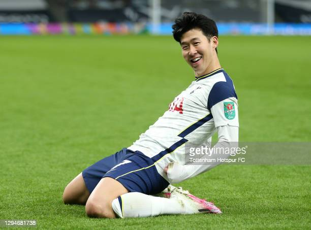 Son Heung-Min of Tottenham Hotspur celebrates after scoring their team's second goal during the Carabao Cup Semi Final between Tottenham Hotspur and...