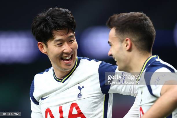 Son Heung-Min of Tottenham Hotspur celebrates after scoring their side's second goal during the Premier League match between Tottenham Hotspur and...
