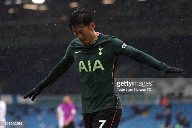 Son Heung-Min of Tottenham Hotspur celebrates after scoring their side's first goal during the Premier League match between Leeds United and...