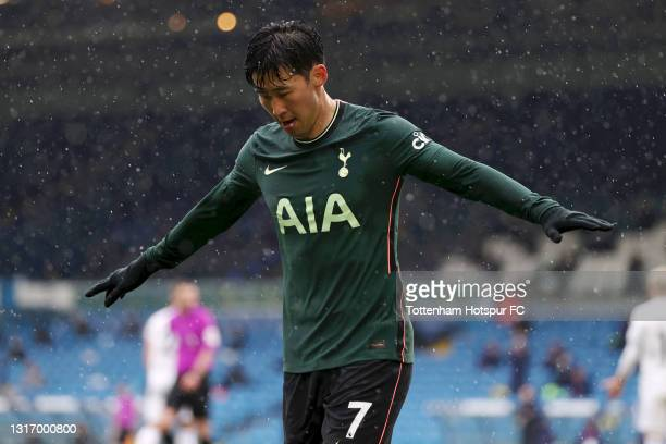 Son Heung-Min of Tottenham Hotspur celebrates after scoring their team's first goal during the Premier League match between Leeds United and...