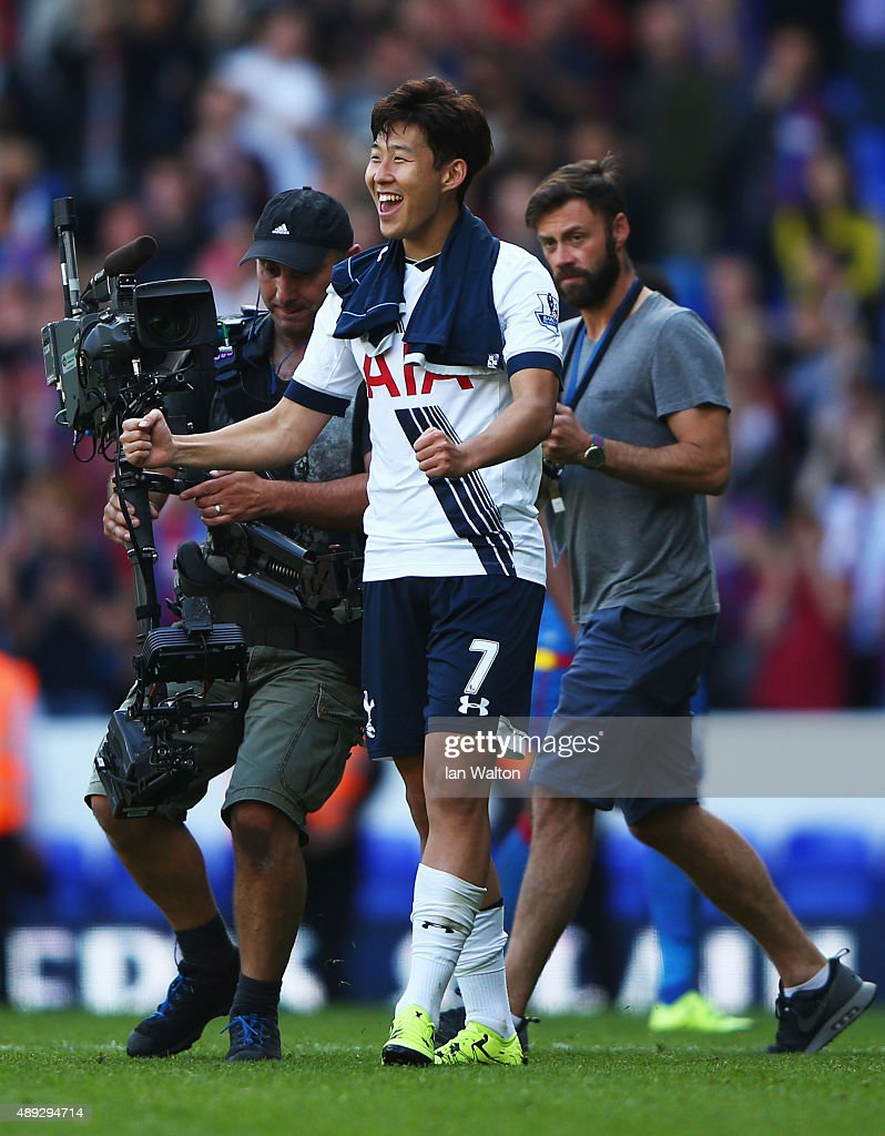 Son Heung-Min of Tottenham Hotspur celebrates after victory in the Barclays Premier League match between Tottenham Hotspur and Crystal Palace at White Hart Lane on September 20, 2015 in London, United Kingdom.
