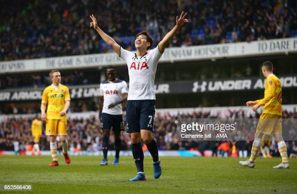Son Heungmin of Tottenham Hotspur celebrates during The Emirates FA Cup QuarterFinal match between Tottenham Hotspur and Millwall at White Hart Lane...