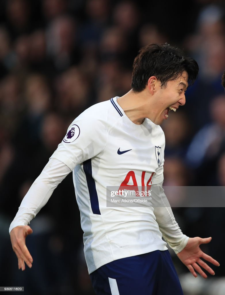 Son Heung-min of Tottenham Hotspur celebrates during the Premier League match between AFC Bournemouth and Tottenham Hotspur at Vitality Stadium on March 11, 2018 in Bournemouth, England.