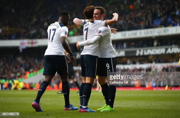 Son Heungmin of Tottenham Hotspur celebrates scoring a hattrick with Vincent Janssen of Tottenham Hotspur during The Emirates FA Cup QuarterFinal...