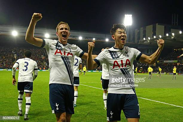 Son Heungmin of Tottenham Hotspur celebrates scoring his team's second goal with his team mate Harry Kane during the Barclays Premier League match...