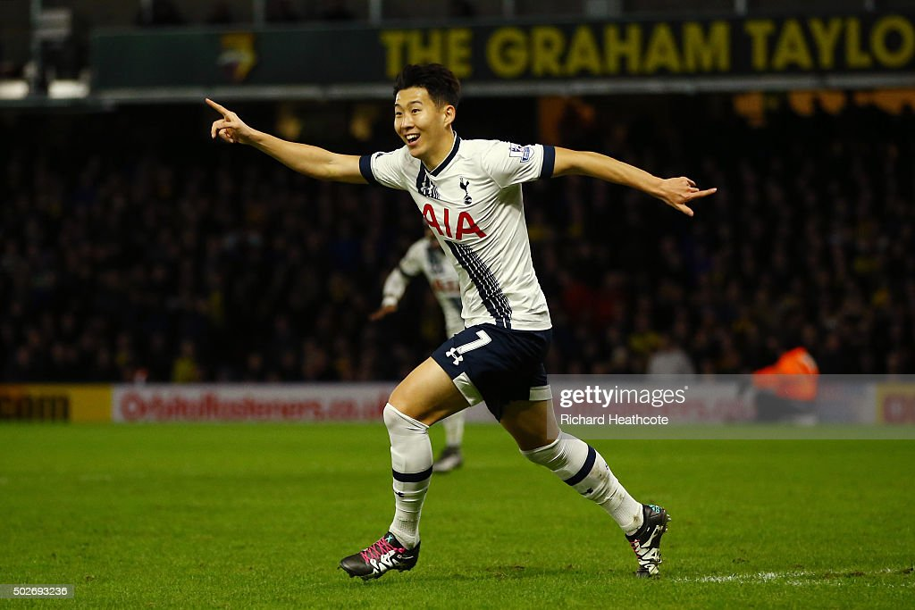 Son Heung-min of Tottenham Hotspur celebrates scoring his team's second goal during the Barclays Premier League match between Watford and Tottenham Hotspur at Vicarage Road on December 28, 2015 in Watford, England.