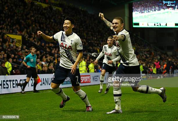 Son Heungmin of Tottenham Hotspur celebrates scoring his team's second goal with his team mate Kieran Trippier during the Barclays Premier League...