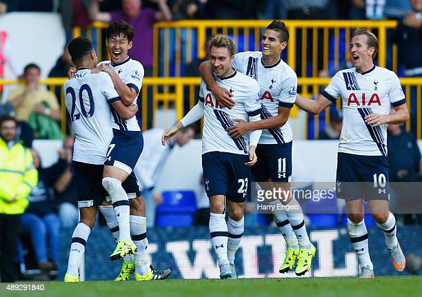 Son HeungMin of Tottenham Hotspur celebrates scoring the opening goal with Dele Alli of Tottenham Hotspur during the Barclays Premier League match...