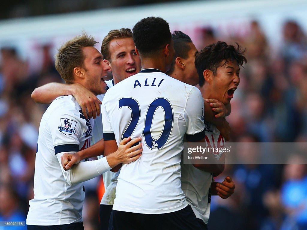Son Heung-Min of Tottenham Hotspur celebrates scoring the opening goal with team mates during the Barclays Premier League match between Tottenham Hotspur and Crystal Palace at White Hart Lane on September 20, 2015 in London, United Kingdom.