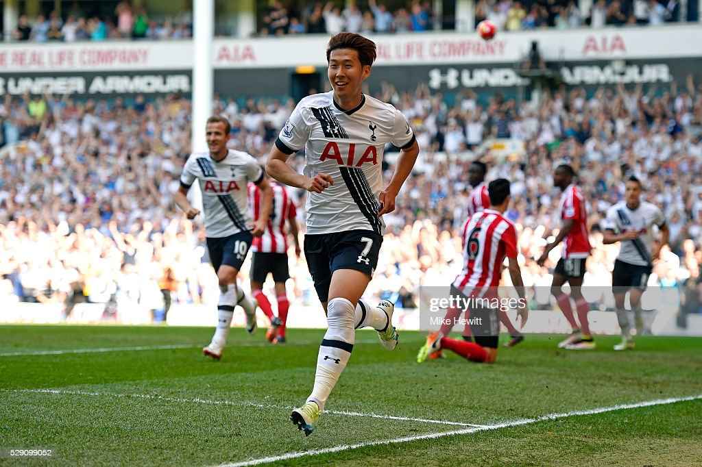 Son Heung-Min of Tottenham Hotspur celebrates scoring the opening goal during the Barclays Premier League match between Tottenham Hotspur and Southampton at White Hart Lane on May 8, 2016 in London, England.