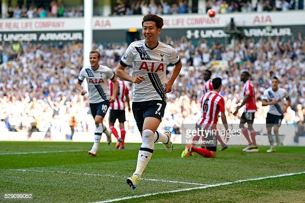 Son HeungMin of Tottenham Hotspur celebrates scoring the opening goal during the Barclays Premier League match between Tottenham Hotspur and...