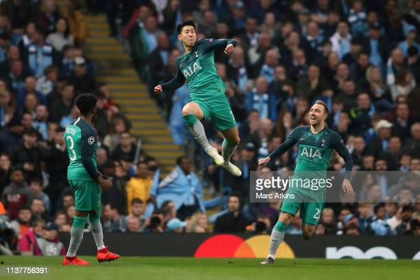 Son Heung-min of Tottenham Hotspur celebrates scoring their 2nd goal during the UEFA Champions League Quarter Final second leg match between...