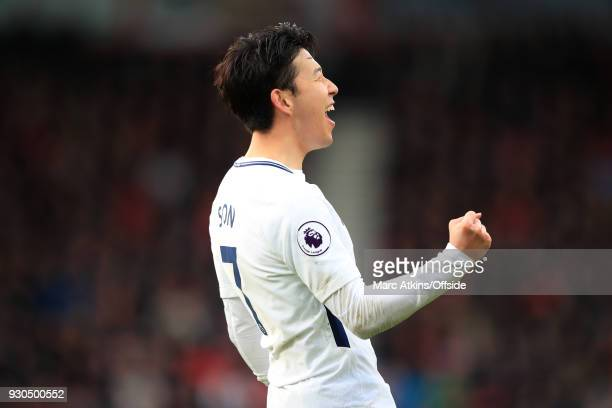 Son Heungmin of Tottenham Hotspur celebrates scoring their 2nd goal during the Premier League match between AFC Bournemouth and Tottenham Hotspur at...