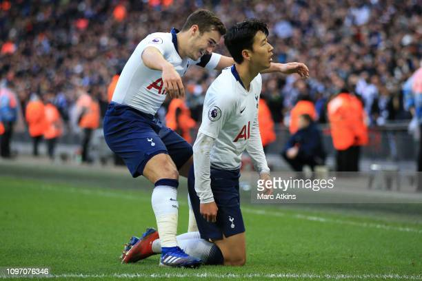 Son Heungmin of Tottenham Hotspur celebrates scoring their 3rd goal with Harry Winks during the Premier League match between Tottenham Hotspur and...
