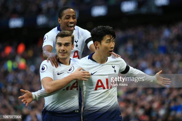 Son Heungmin of Tottenham Hotspur celebrates scoring their 3rd goal with Harry Winks and Kyle WalkerPeters during the Premier League match between...