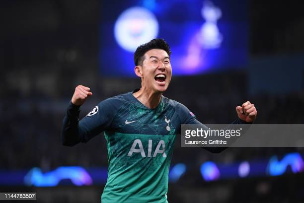 Son Heungmin of Tottenham Hotspur celebrates victory during the UEFA Champions League Quarter Final second leg match between Manchester City and...