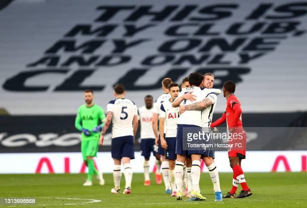 Son Heung-Min of Tottenham Hotspur celebrates victory with Toby Alderweireld of Tottenham Hotspur after the Premier League match between Tottenham...