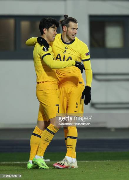 Son Heung-Min of Tottenham Hotspur celebrates with Gareth Bale after scoring their team's second goal during the UEFA Europa League Group J stage...