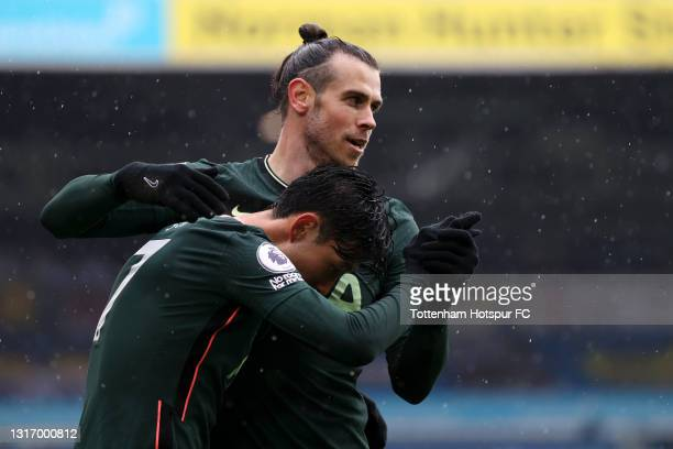 Son Heung-Min of Tottenham Hotspur celebrates with Gareth Bale of Tottenham Hotspur after scoring their team's first goal during the Premier League...