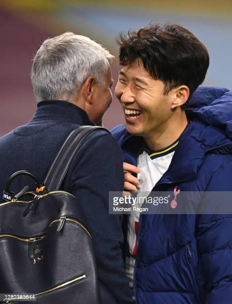 Son Heung-Min of Tottenham Hotspur celebrates with Jose Mourinho, Manager of Tottenham Hotspur after the Premier League match between Burnley and...