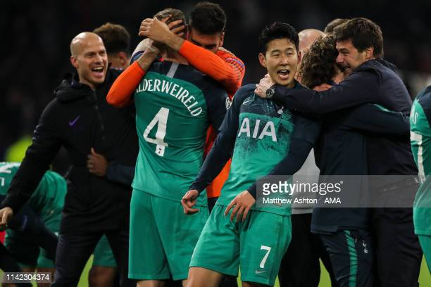 Son Heungmin of Tottenham Hotspur celebrates with Mauricio Pochettino head coach / manager of Tottenham Hotspur at full time during the UEFA...