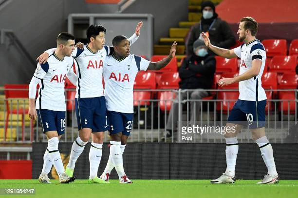 Son Heung-Min of Tottenham Hotspur celebrates with Steven Bergwijn, Giovani Lo Celso and Harry Kane after scoring their team's first goal during the...