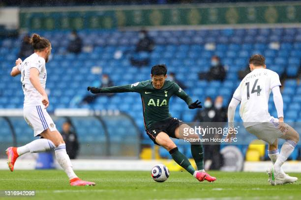 Son Heung-Min of Tottenham Hotspur controls the ball during the Premier League match between Leeds United and Tottenham Hotspur at Elland Road on May...