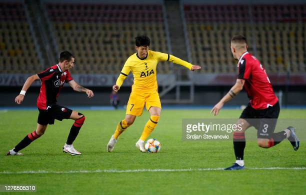 Son HeungMin of Tottenham Hotspur controls the ball during the UEFA Europa League third round qualifying match between Shkendija and Tottenham...