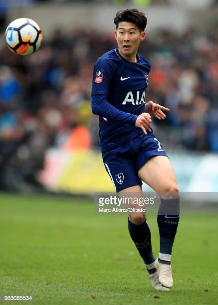 Son Heungmin of Tottenham Hotspur during the Emirates FA Cup Quarter Final match between Swansea City and Tottenham Hotspur at Liberty Stadium on...