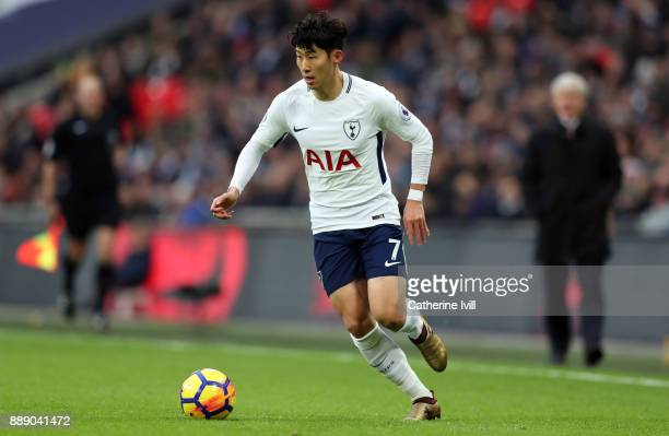 Son Heungmin of Tottenham Hotspur during the Premier League match between Tottenham Hotspur and Stoke City at Wembley Stadium on December 9 2017 in...