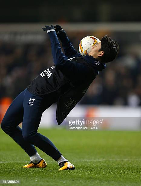 Son HeungMin of Tottenham Hotspur during the UEFA Europa League match between Tottenham Hotspur and Fiorentina at White Hart Lane on February 25 2016...