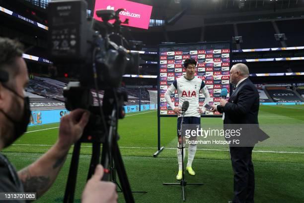 Son Heung-Min of Tottenham Hotspur is interviewed following the Premier League match between Tottenham Hotspur and Southampton at Tottenham Hotspur...