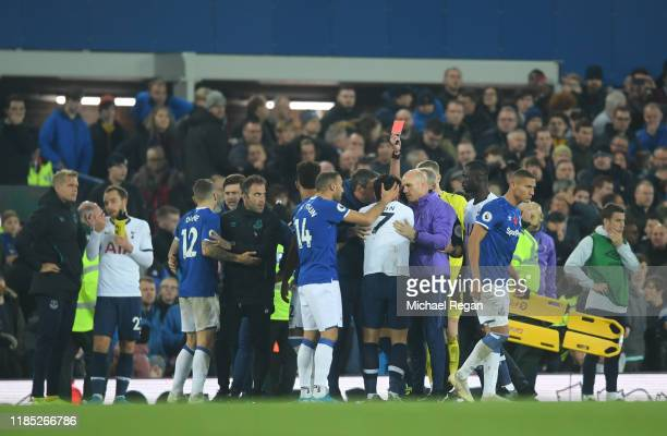 Son Heung-Min of Tottenham Hotspur is shown a red card during the Premier League match between Everton FC and Tottenham Hotspur at Goodison Park on...