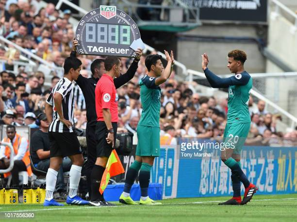 Son HeungMin of Tottenham Hotspur is substituted for Dele Alli of Tottenham Hotspur during the Premier League match between Newcastle United and...