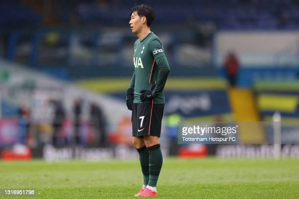 Son Heung-Min of Tottenham Hotspur looks dejected during the Premier League match between Leeds United and Tottenham Hotspur at Elland Road on May...