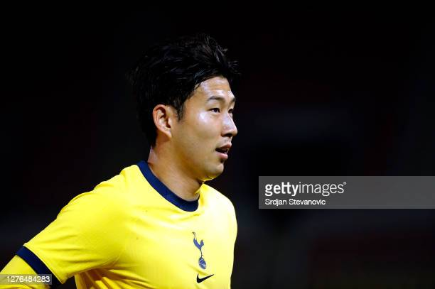 Son HeungMin of Tottenham Hotspur looks on during the UEFA Europa League third round qualifying match between Shkendija and Tottenham Hotspur at...