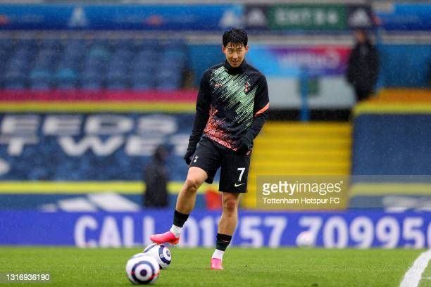 Son Heung-Min of Tottenham Hotspur looks on during the warm up prior to the Premier League match between Leeds United and Tottenham Hotspur at Elland...