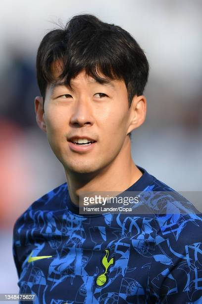 Son Heung-Min of Tottenham Hotspur looks on during the warm up prior to the Premier League match between West Ham United and Tottenham Hotspur at...
