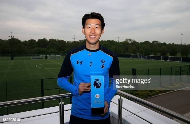 Son Heungmin of Tottenham Hotspur poses with his EA Sports Player of the Month award on May 11 2017 in Enfield England